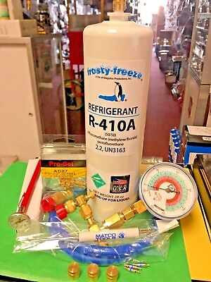 Refrigerant 410a, R410, Recharge Kit, 28 oz., Thermometer, 3 Cores & Caps, Malco for sale  Shipping to Canada