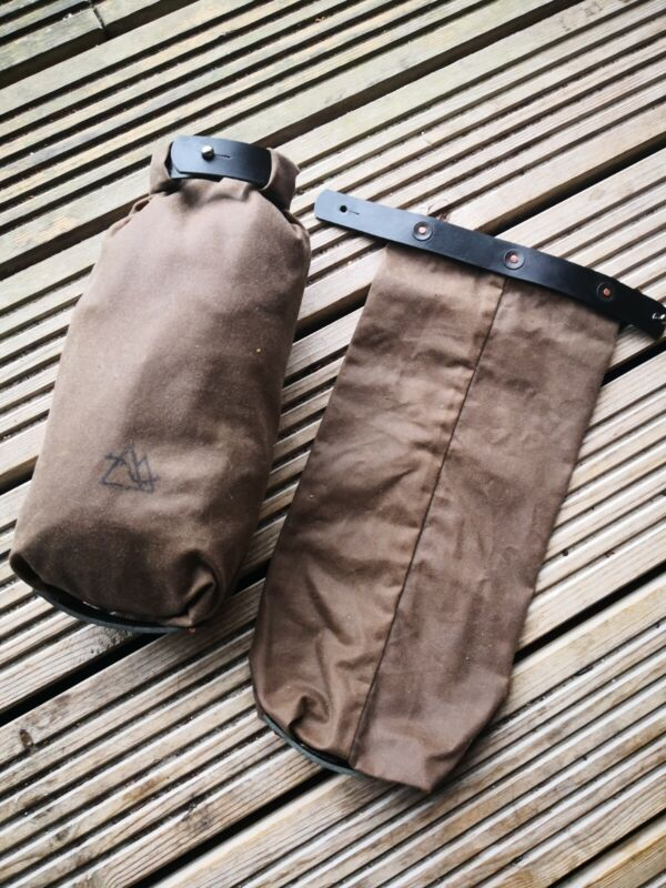 Small roll top Waxed Canvas and leather bushcraft winter camping EDC firekit
