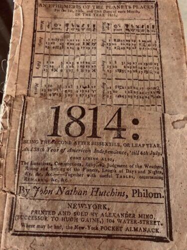 Antique 1814 The New York POCKET ALMANACK Book by John Nathan Hutchins, Philom.