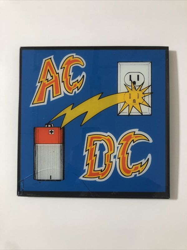 "VTG 80s AC/DC Framed Carnival Prize Glass Sign Classic Hard Rock 12""x12"" RARE"
