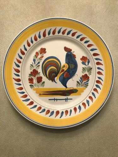Vintage French HB Henriot Quimper Signed Rooster Dinner Plate - Beautiful!