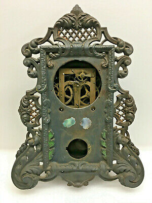 Antique Lattice Iron Front Mantel Clock For Repair