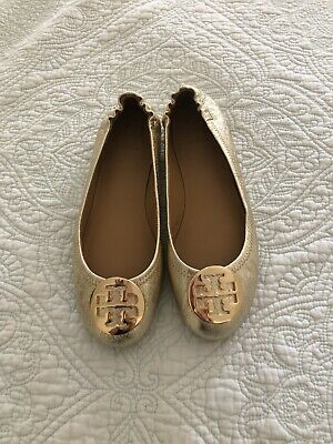 TORY BURCH Minnie Travel Ballet Flats Leather Logo Spark Gold Size 8 New