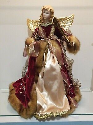 "Victorian Angel Christmas Tree Topper 16"" Tall Violin Gold Wings"