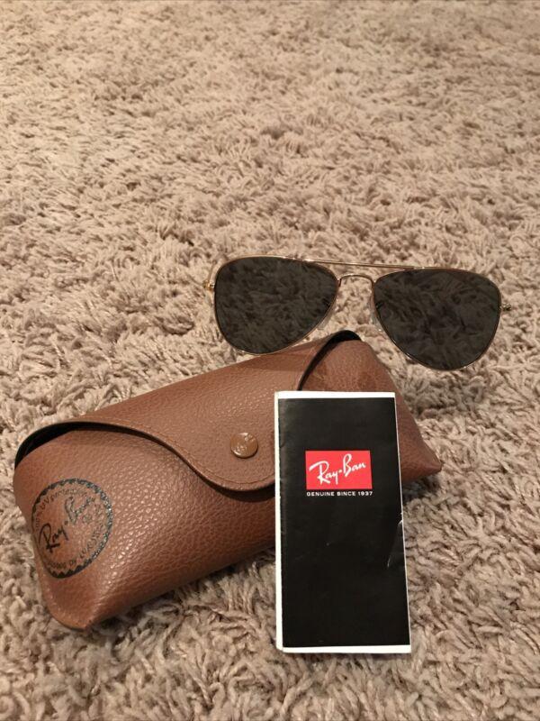 Ray Ban Aviator Sunglasses Gold Frame / Crystal Green Lens 58MM ,,