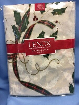 Lenox Christmass Holiday Nouveau 60 X 84 Rectangle Tablecloth Holly with ribbon ()