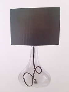 2 x Table Lamps Clear glass base black shade 45cm H  x2 NEW Burleigh Heads Gold Coast South Preview