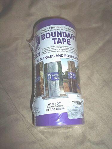 "Purple No Hunting Sign Boundary Tape 6"" x 100"