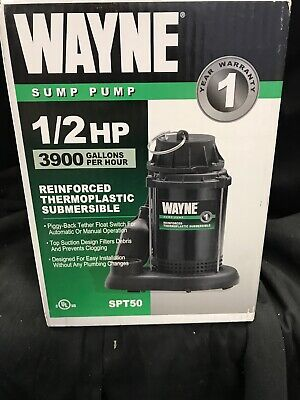 Wayne Submersible Sump Pump 3600 Gph 12 Hp 1 12in. Model Spt50
