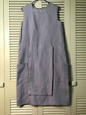 Vintage Sharon Gild Linen Apron Front Midi Dress Linen Minimalist Lagenlook