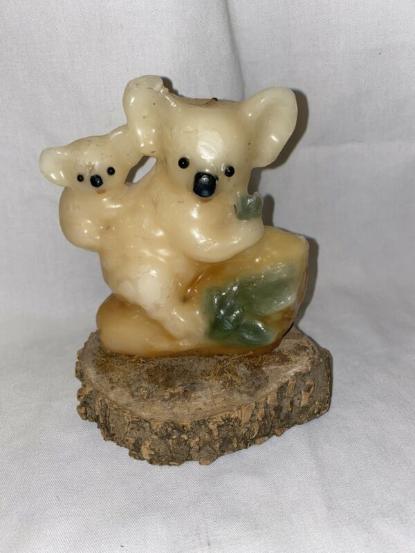 Vintage 70's Koala Bear Momma And Baby Wax Candle On Wood Groovy Used Retro