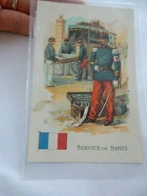PORTRAIT OF  FRENCH DOCTOR   AND AMBULANCE  CHROMOLITHO    POSTCARD  WW1 1915