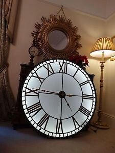 HUGE!!!!. Industrial backlit wall clock, westminster dial illuminated