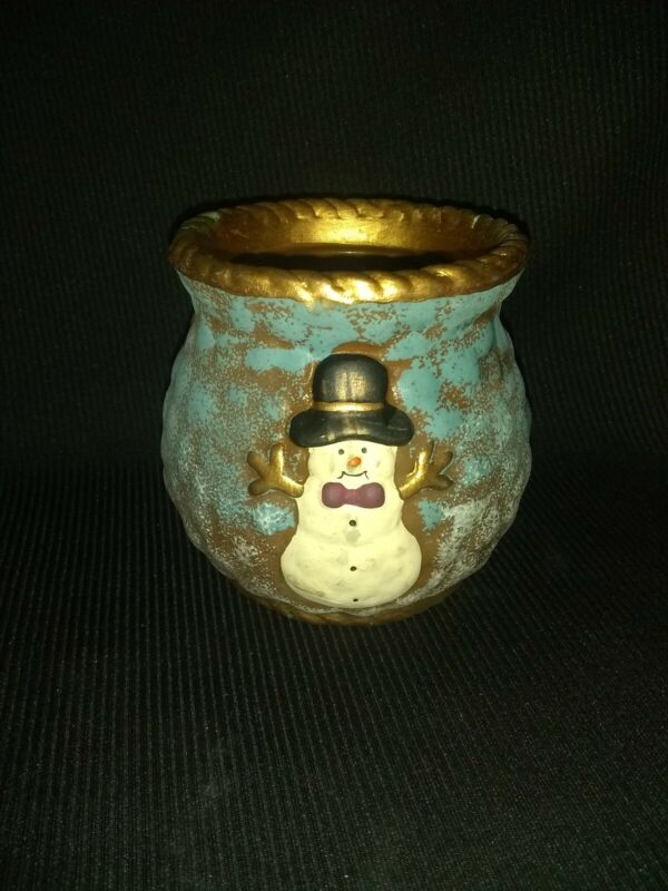 Christmas Snowman Glitter Candle Holder very unique rare snowman on both sides!