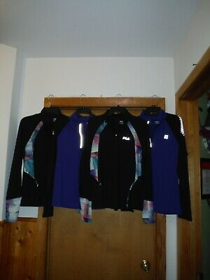 FILA Long Sleeve 1/4 Zip Sport  Stretch Tops ,L,M, Some color 88% polyester 12%
