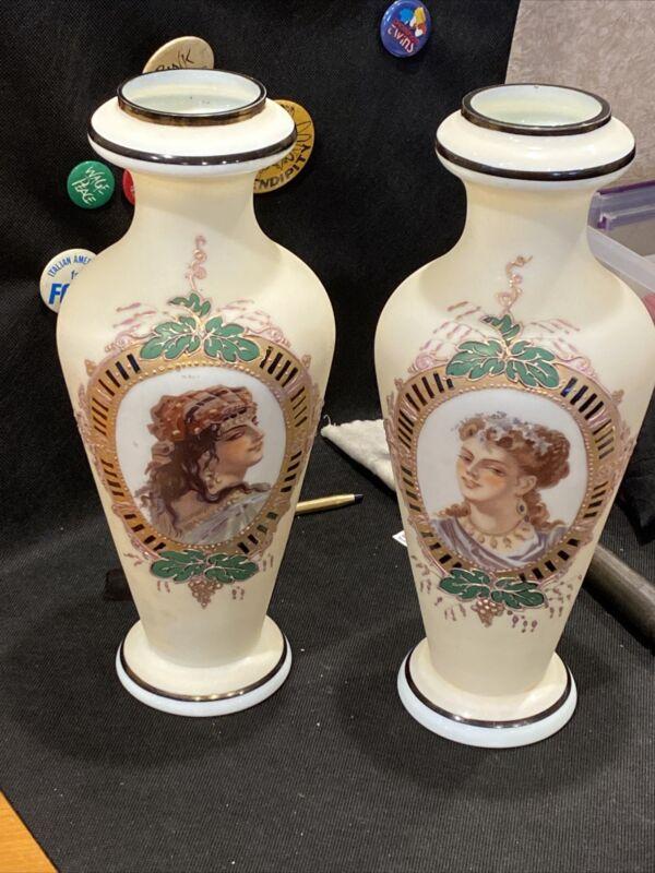 Pair Of Antique English Bristol Glass Portrait Vases Rare And Beautiful