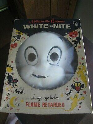 CASPER the Friendly Ghost Vtg HALLOWEEN Costume w Mask Graphic Box Collegeville
