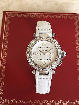 Cartier Pasha Watch 32Mm 18K White Gold With Diamond  Crocodile Strap