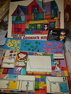 Vintage 1957 Miss Cookie's Kitchen Colorforms Play Kit Board Game USA
