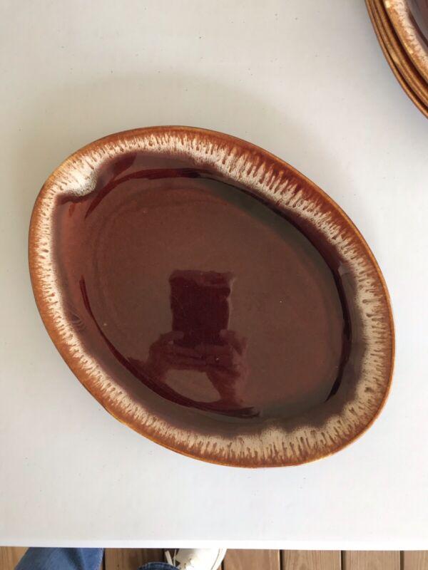 """Vintage Oval Brown Drip Glaze Platter Pottery USA 13 x 10"""" NICE!"""