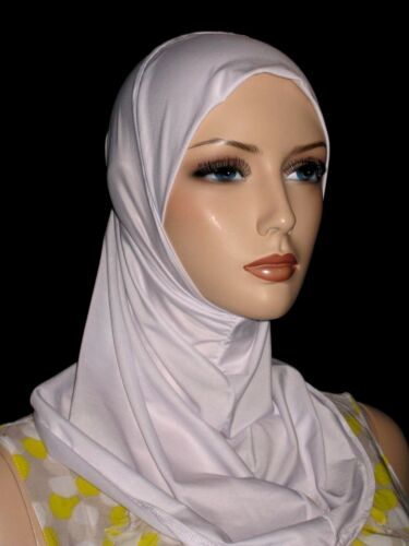 New white lycra hijab 1 piece abaya Islam scarf chemo head cover scarf