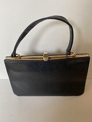 1950s Handbags, Purses, and Evening Bag Styles Goldex Black Lizard Vtg 1950s Bag Gold Hardware Top Handle Handbag Vintage Med $56.17 AT vintagedancer.com