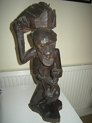 VINTAGE OLD LARGE AFRICAN MALAWI WOOD CARVING OF MAN
