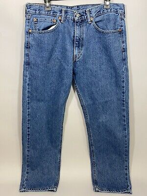 Levis Strauss Men Jeans Straight Leg 505 34w 29L Medium Wash Blue Pants 34x29 34