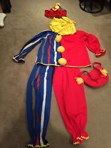 Large adult sized clown costume with yarn wig in hat