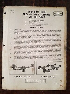 Hutch H-2200 Model Truck And Trailer Suspensions And Half Tandem Instructions