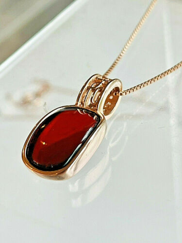14k Rose Gold Filled Genuine Russian Baltic Amber Necklace Butterscotch 老琥珀