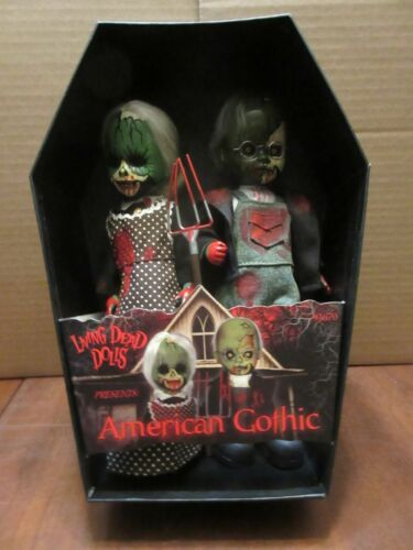 Living Dead Dolls American Gothic Zombies 2 Pack opened displayed