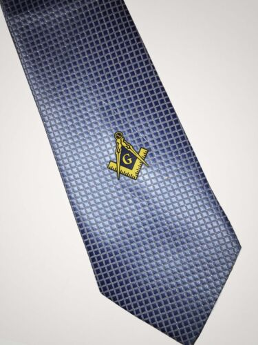 Masonic Woven Tie Light Blue Freemasons Square and compass Suit Master Necktie