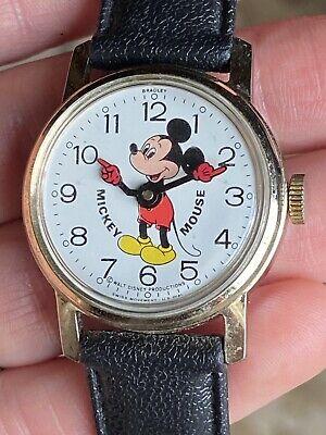 Vintage Bradley Mickey Mouse Watch Swiss Made US Dial Disney Wind Up Runs A Bit