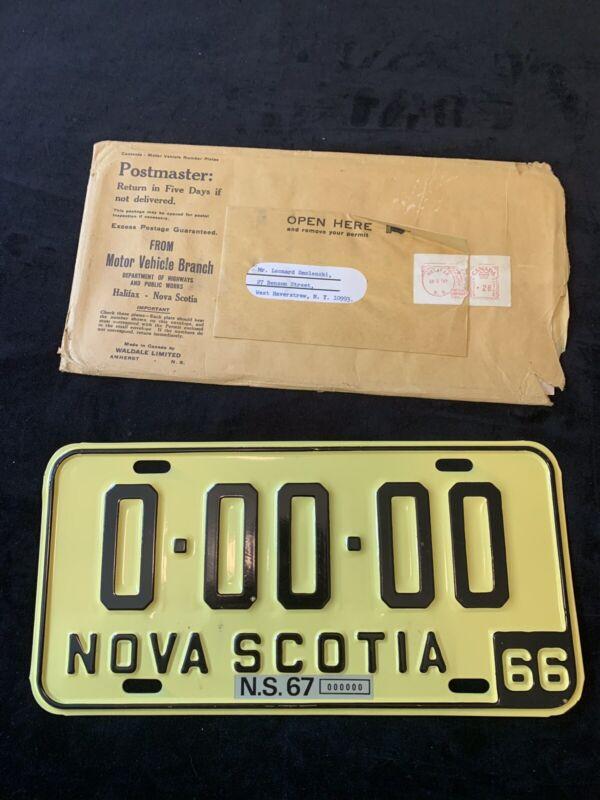 1966 Nova Scotia Sample License Plate 00000 RARE w/ orignial envelope