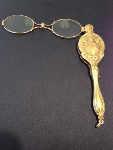 14kt Gold Vintage Folding Opera Glasses With Diamond Handmade