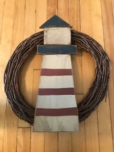 Lighthouse on whisker wreath accent piece