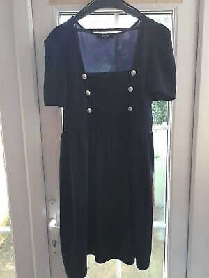 New Look Koko Navy Blue Military Button Square Neck Dress Plus Size 18 Steampunk