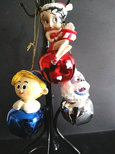 3 Lot Betty Boop Abominable Snowman And Hermey The Elf Jingle Bell Ornaments