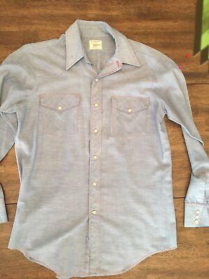 1970s Men's Shirt Styles – Vintage 70s Shirts for Guys Vintage Men's Big Mac JC Penney Western Pearl Snap Farm Shirt Blue Medium 1970's $29.99 AT vintagedancer.com
