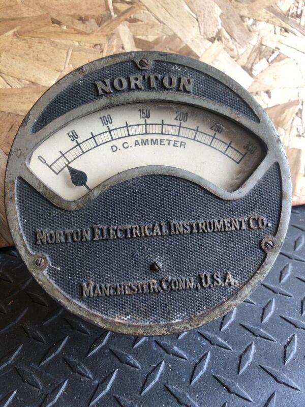 Antique Norton Electrical Instrument D.C. Ammeter Gauge