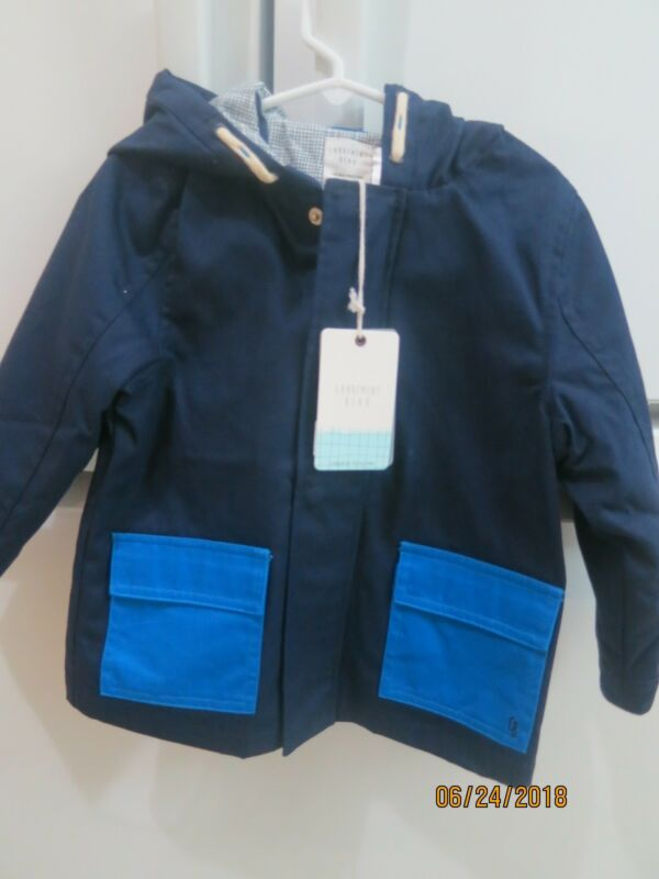 Carrement Beau Toddler Boys Navy Cotton Hooded Jacket Size 3 w/ contrast Pockets