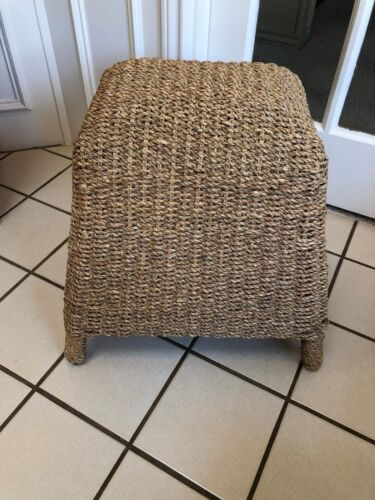 ANTIQUE VINTAGE STURDY BAMBOO &  WICKER  FOOTSTOOL STOOL SEAT FURNITURE