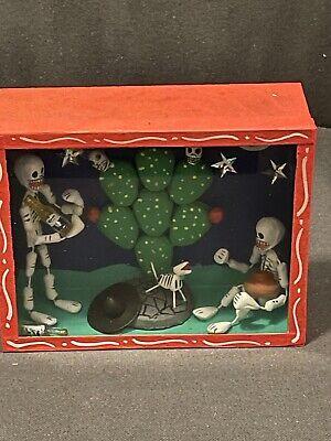 Skeleton Day Of The Dead Shadow Box. Nigh-time Drinking Scene. De Los Muetos.