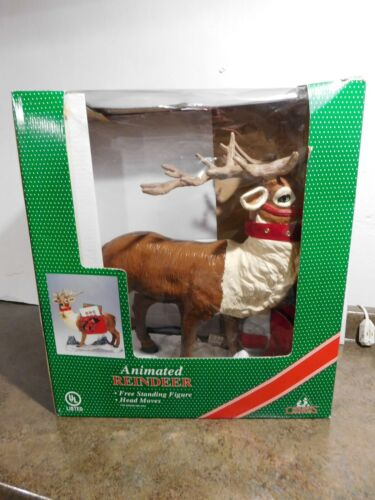 HTF 1998 Holiday Creations Christmas Card Holder/Saddle Animated Reindeer w/Box