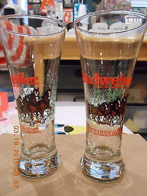 Budweiser Clydesdales Glasses Set of 2 Tall 1989 Christmas Official Product