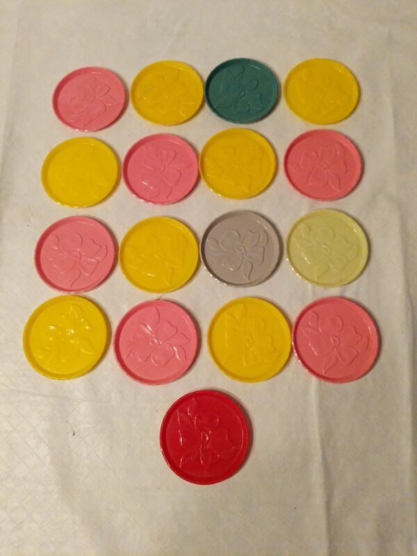"""Vintage Plastic/Acrylic Stackable 3"""" Coasters With Flower Set of 17"""
