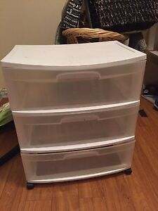 2 long plastic drawer storage with wheels