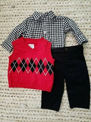 NEW Baby Boy Argyle Sweater Vest Shirt Pants 3 Piece Set 3M 3 Months Red Black