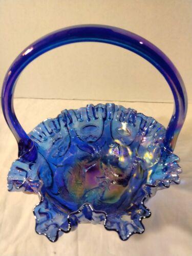 Rare Fenton for Singleton Electric Blue Carnival Glass Large Basket Farmyard